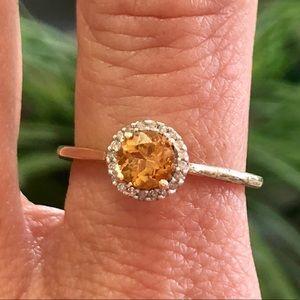10k Gold Citrine Diamond Halo Ring